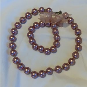 Jewelry - Pink Faux Pearl Necklace and Bracelet